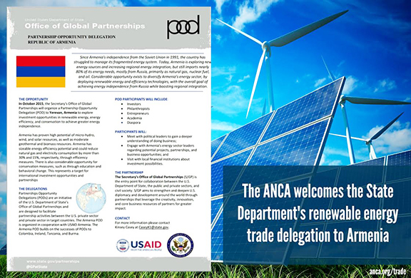 State Department's renewable energy delegation to visit Armenia