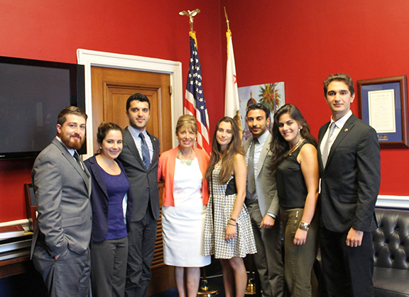 ANCA Leo Sarkisian 2015 interns visiting with Congresswoman Jackie Speier.  From L to R: Dickran Khodanian, Denise Altounian, Erik Khzmalyan, Congresswoman Speier, Ripsime Biyazyan, Shaunt Tchakmak, Arevig Afarian and Patrick Babajanian.