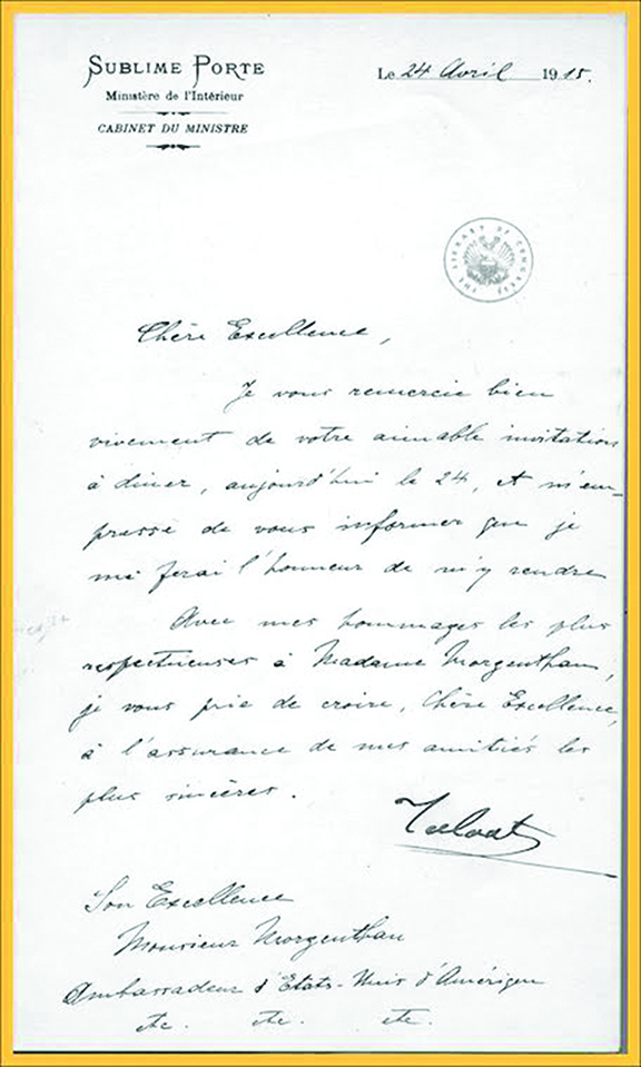 Letter from Talaat Pasha to Ambassador Henry Morgenthau, dated April 24, 1915, accepting an invitation to dine that evening.