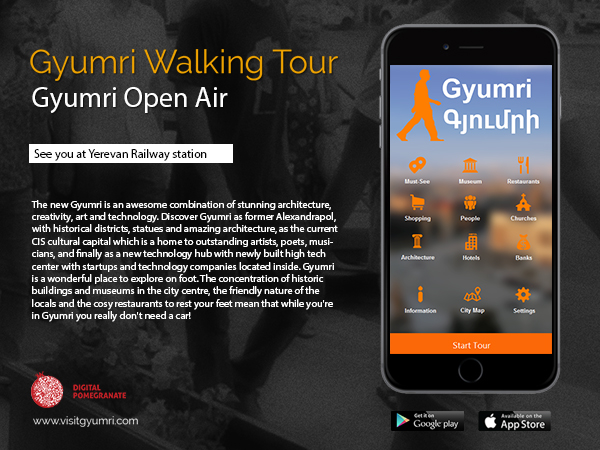 The Gyumri Walking Tour application will help visitors to the city move about (Source: Digital Poegranate)