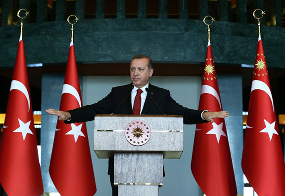 Turkish president, Recep Tayyip Erdogan, on Tuesday as he criticized the signers of a petition denouncing the military's campaign against Kurdish militants in southeastern Turkey. (Source: Kayhan Ozer)