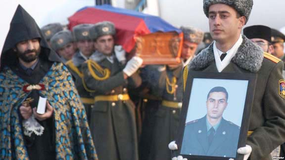Funeral Gurgen Markarian in Yerevan after he was brutally axed to death by Ramil Safarov