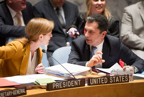 Armenia's Ambassador to the UN (right) with US Ambassador to the UN Samantha Power