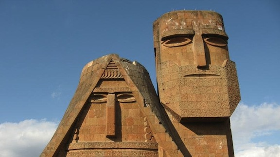 "The ""We are out Mountains"" monument in Artsakh"