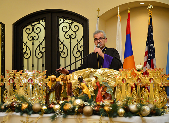 Western Prelate Arch. Moushegh Mardirossian addresses the gathering