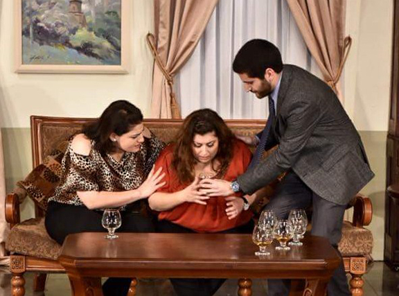 "Arpi Samuelian, Arpi Balabanian, and Peter Nishan in ""Funny Money"""