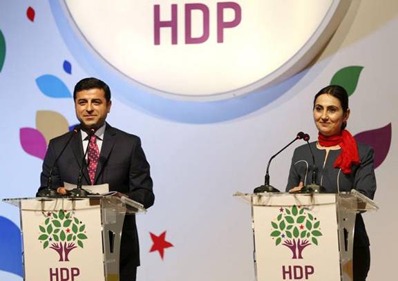 HDP Co-leaders, Selahattin Demirtas and Figen Yuksekdag (Source: Kurdpress)
