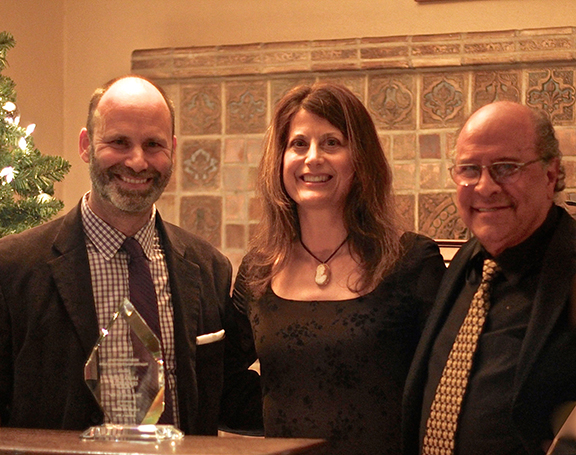 L-R: Honorary Judge Pier Carlo Talenti, CTG Literary Director; 2014 Saroyan Prize winner Laura Maria Censabella; ADAA Board member Hank Saroyan, nephew of the late William Saroyan.