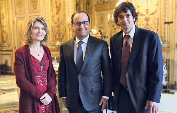 Moogalian was awarded the Legion d'Honneur, France's highest honor for bravery by French President Francois Hollande at the Élysée Palace.