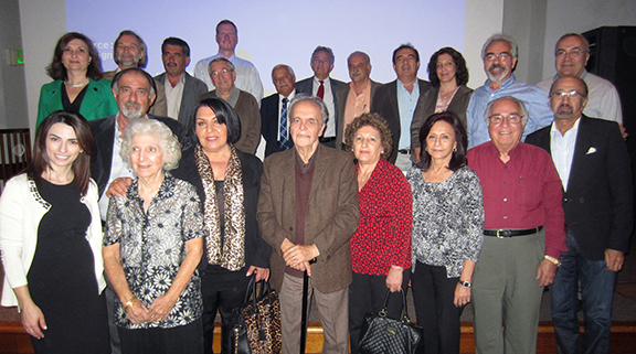 Conference attendees and speakers, including Zaruhy Sara Chitjian (first row, second from left), Kristine Martirosyan-Olshansky (first row, far left), Dr. Marco Brambilla (first row, far right), and Dr. Bert Vaux (back row, fourth from left).  (Source: Edward Hayrapetyan)