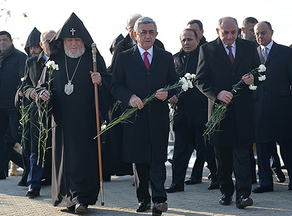 His Holiness Karekn II, Serzh Sarkissian, Bako Sahakyan. (Source: Public Radio of Armenia)