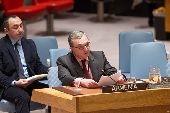 Ambassador Zohrab Mnatsakanyan at the United Nations giving hi speech. (Source: Public Radio of Armenia)