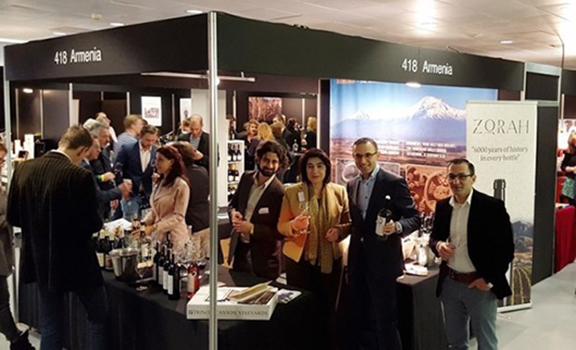 The Armenian Wine exhibit at the wine festival in Amsterdam. (Source: Yerakouyn Daily News)