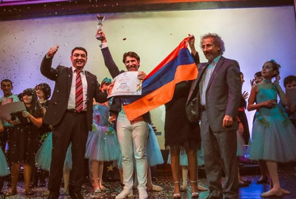 Artsakh Singer Sar Sargsyan at the international contest in Spain. (Source: Armenpress)