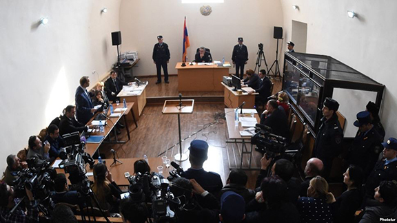 The trial of Valery Permyakov, a Russian soldier accused of murdering seven members of an Armenian family. (Source: Photolure)