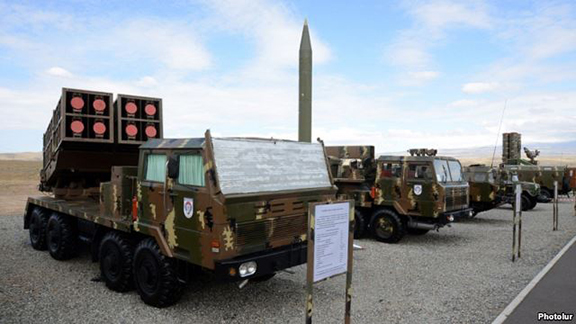 Missile and rocket systems put on display during an Armenian military exercise in Armavir region on October 8, 2013. (Source: Photolure)