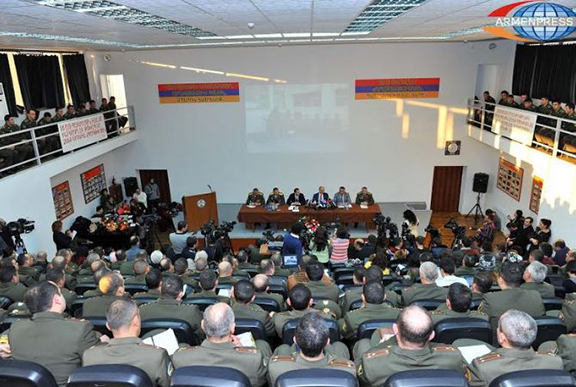 Defense Minister Seyran Ohanyan addressing the press. (Source: Armenpress)