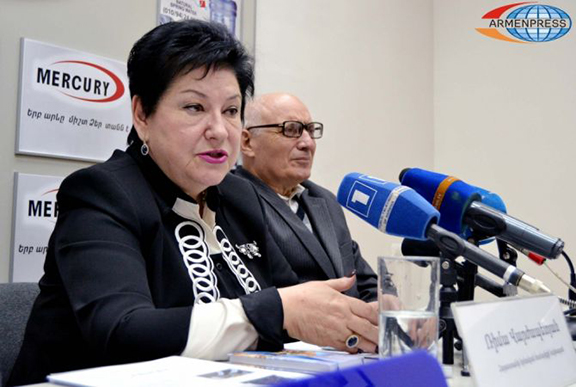 Head of the Jewish Community of Armenia, Rima Varzhapetyan and Deputy Head, Karen Hovhannisyan. (Source: Armenpress)