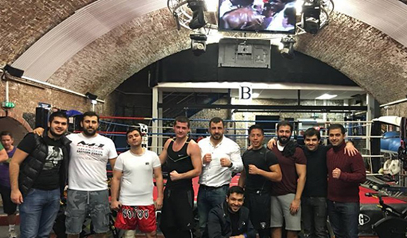 Group of boxers at the former Azbeijani's kickboxer's kickboxing club in London. (Source: Panorama.am)