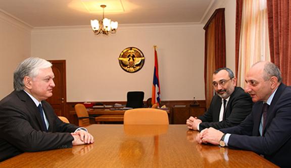 Armenian Foreign Minister Nalbandian with Artsakh President Bako Sahakian and Foreign Minister Karen Mirzoyan. (Source: mfa.com)