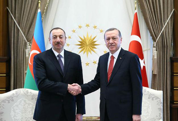 Azerbaijani President Illham Aliyev and Turkish President Recap Erdogan. (Source: CIHAN photo)