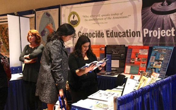 The GenEd exhibit booth at the conference that provided various resources for the teachers in attendance.