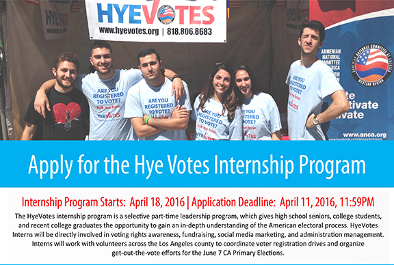 General internship launched by ANCA-WR's Hye Votes