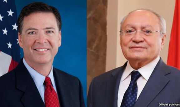 FBI Director James Comey and Amenian Investigative Committee Chairman Aghvan Hovsepian.