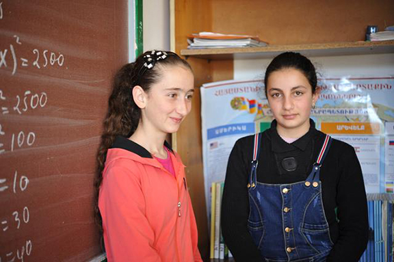 Students of the school in Martuni.