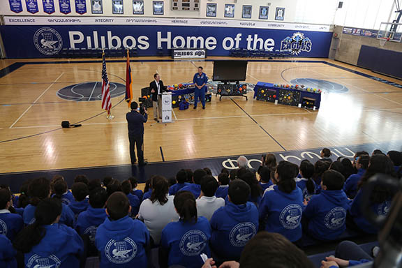 Congressman Adam Schiff and Astronaut, Colonel Wheelock speaking to Pilibos students.