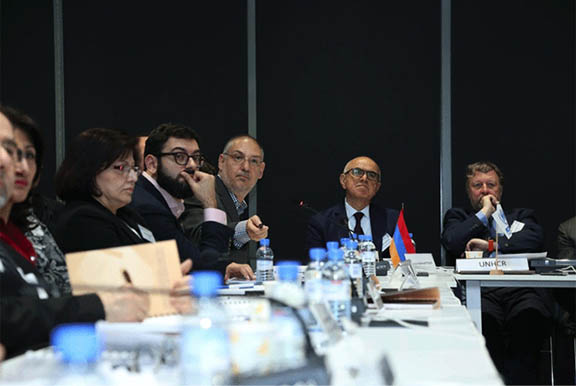 "Raffy Ardhaldjian announcing the Diaspora donor consortium's pledge at the workshop ""From Humanitarian Responses to Durable Solutions"" in Yerevan, Armenian. (Source: AGBU Yerevan)"