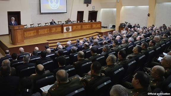 President Serzh Sarkisian addresses the top army brass in Yerevan on March 21. (Source: RFE/RL)