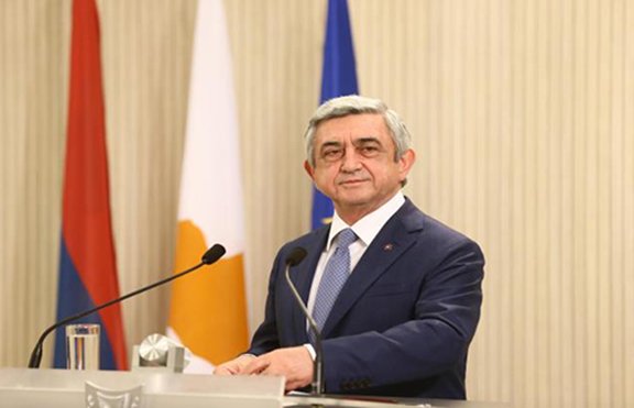 President Serzh Sarkisian in Cyrpus. (Source: FG News)