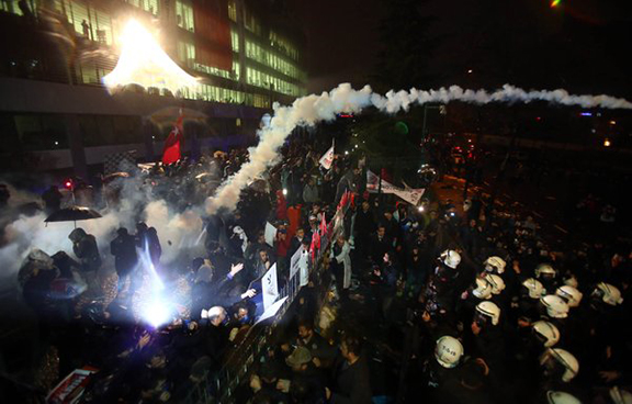 More images of the police raiding the newspaper headquarters. (Source: Today's Zaman)