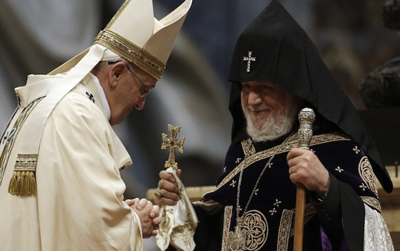 Pope Francis (left) with Catholicos Karekin II in the Vatican in April 2015
