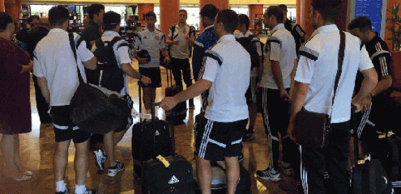 The team upon arrival in Los Angeles