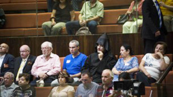 Jerusalem Armenian community members attend the Knesset discussion on the Armenian Genocide Tuesday (Times of Israel photo)