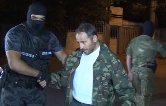 Artur Sargsyan, seen here on July 31, being hauled off by Special Investigative Service officers