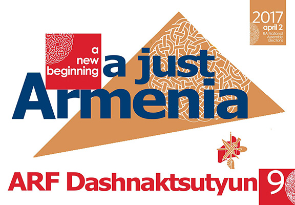 "ARF's 2017 election slogan: ""A New Beginning; A Just Armenia"""