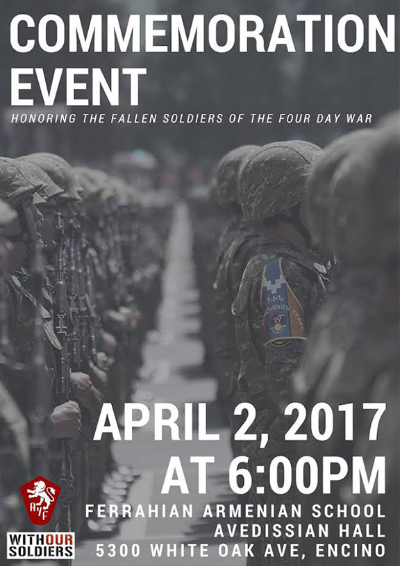 The Armenian Youth Federation will hold a commemorative evening on Sunday, April 2 6 to honor the fallen heroes of the Four Day War with Azerbaijan on its first anniversary of the conflict.