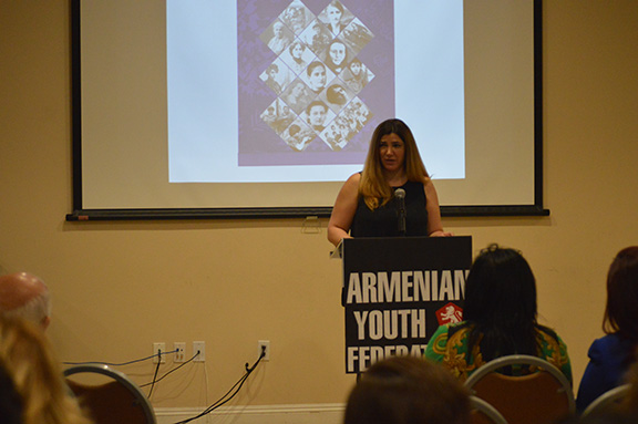 ARS representative Alina Havetvani speaking about the Armenian Relief Society's Child, Youth and Family Guidance Cente
