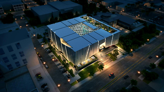 Armenian American Museum aerial view night