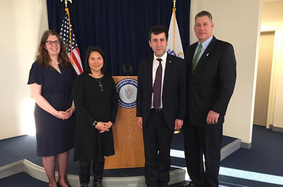 Ruben Melikyan meets with Sheriff Koutoujian and staff from Massachusetts Attorney General's office.