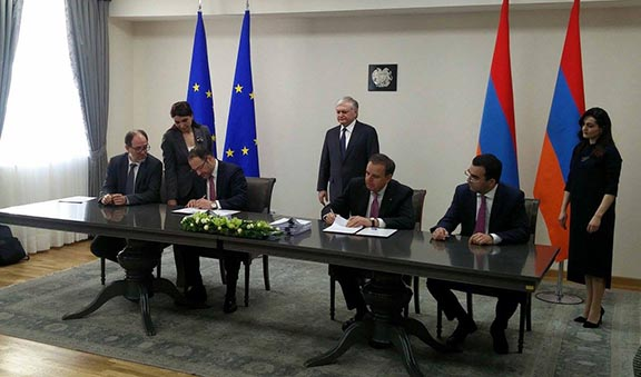 European Union and Armenia representatives initial the Comprehensive and Enhanced Partnership Agreement on March 21, 2017 in Yerevan (Photo: Ministry of Foreign Affairs of Armenia)
