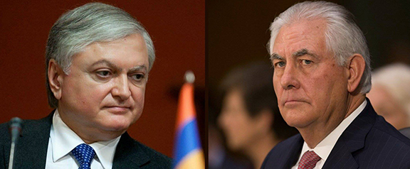 Armenian Foreign Minister Edward Nalbandian (left) and U.S. counterpart Rex Tillerson