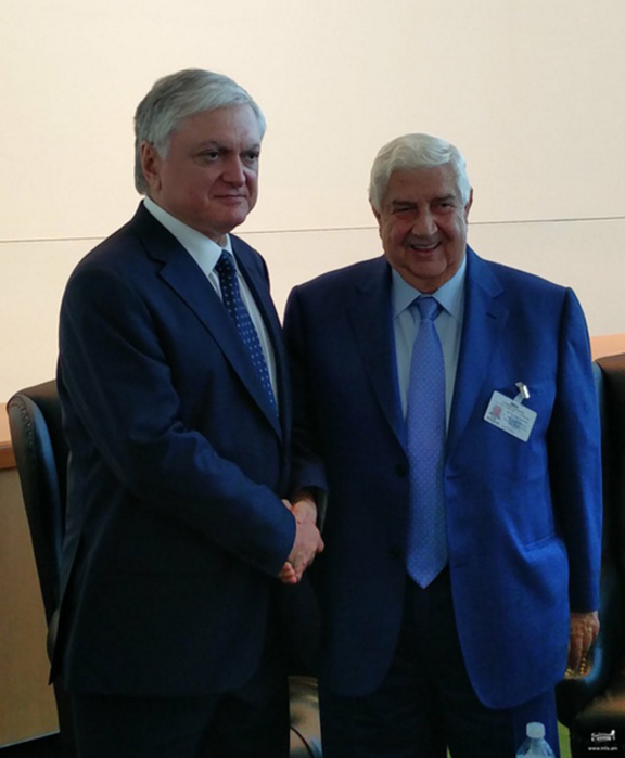 Armenian Foreign Minister Edward Nalbandian and his Syrian counterpart Walid Muallem meet in Damascus on Sept. 23, 2016 (Photo: Ministry of Foreign Affairs of Armenia)