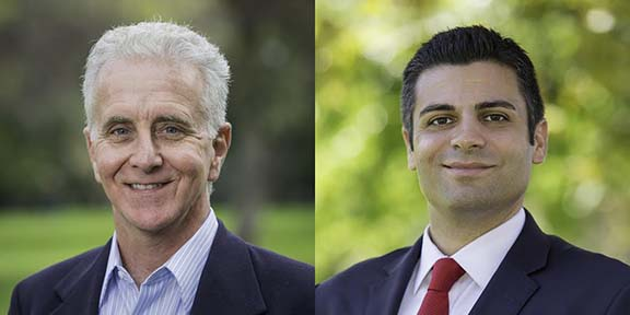Los Angeles Councilmember Paul Krekorian (left) endorses Shant Sahakian in his campaign for Glendale School Board District D