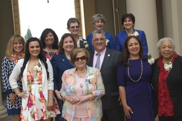 (From left to right) Back row – Lisa Pitney, Marsha Ramos, Alta Skinner, Claire Bogaard, Dr. Geraldine Perri; Front row – Angela Aguirre, Sheri Bonner, Mary Najarian, Sen. Portantino, Alma Hernandez, Juanita De Vaughn