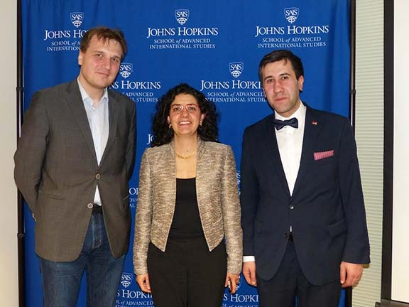 Center for Transatlantic Relations' Benedikt Harzl with the ALC's Kate Nahapetian, and  Artsakh Human Rights Ombudsman Ruben Melikyan