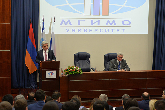 President Serzh Sarkisian speaking at the Moscow State Institute of International Relations on March 14, 2014 (Photo: Press Office of the President of Armenia)
